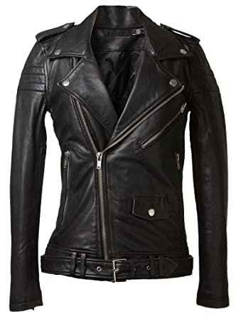 Exemplar Women's Genuine Lambskin Leather Moto Jacket Black LL877 ...