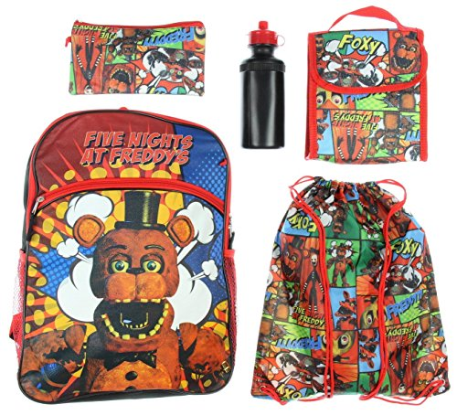 Five Nights At Freddy's Backpack Kids 5 PC Lunch Box Water Bottle Cinch Bag Set