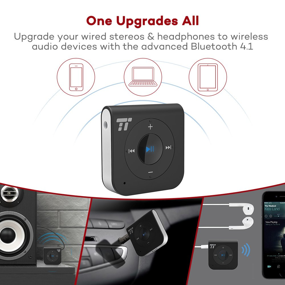 15 Hour Bluetooth Receiver/Bluetooth Car Kit, TaoTronics Portable Wireless Audio Adapter 3.5mm Aux Stereo Output (Hands-free Calling, Bluetooth 4.1, A2DP, CVC Noise Cancelling) by TaoTronics (Image #3)