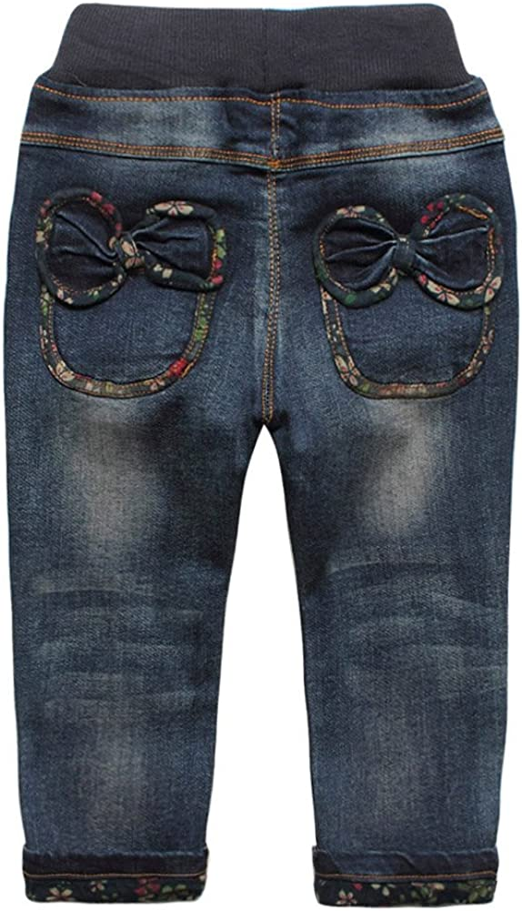 eTree Little Girls Baby Cotton Denim Jeans Broken Bowknot Pants