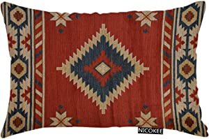 Nicokee Throw Pillow Cover Southwest Native American Chevron P3 Decorative Pillow Case Home Decor 20x12 Inches Pillowcase