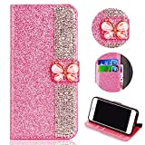 Glitter Leather Wallet Case for Samsung Galaxy A6 Plus 2018,Shinyzone Luxury Diamond Sparkle 3D Butterfly Magnetic Buckle Women Series Design Cover for Samsung Galaxy A6 Plus 2018,Pink