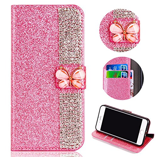 Glitter Leather Wallet Case for Samsung Galaxy A6 Plus 2018,Shinyzone Luxury Diamond Sparkle 3D Butterfly Magnetic Buckle Women Series Design Cover for Samsung Galaxy A6 Plus 2018,Pink by Shinyzone
