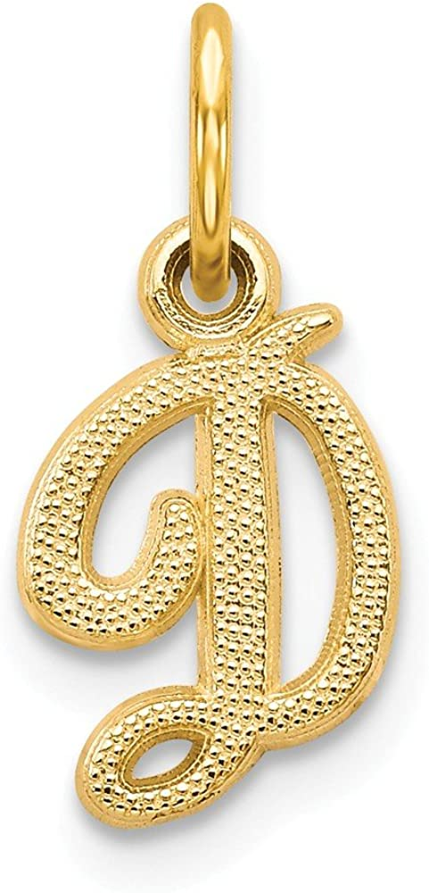 14K Yellow Gold Casted Initial D Charm