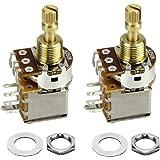 FLEOR 2pcs A250K Push Push Guitar Pots Short Copper Split Shaft Audio Taper Potentiometers