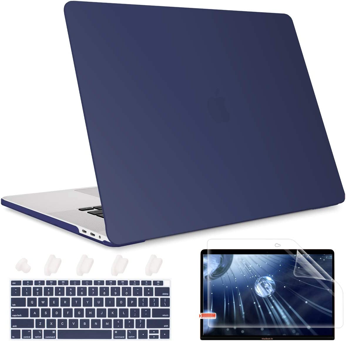 May Chen Rubberized Frosted Matte Hard Shell Cover, Plastic Keyboard Cover For New MacBook Air 13 with Retina Dispaly Fits Touch Id A1932/A2179 2018 2019 2020 Release, Navy Blue