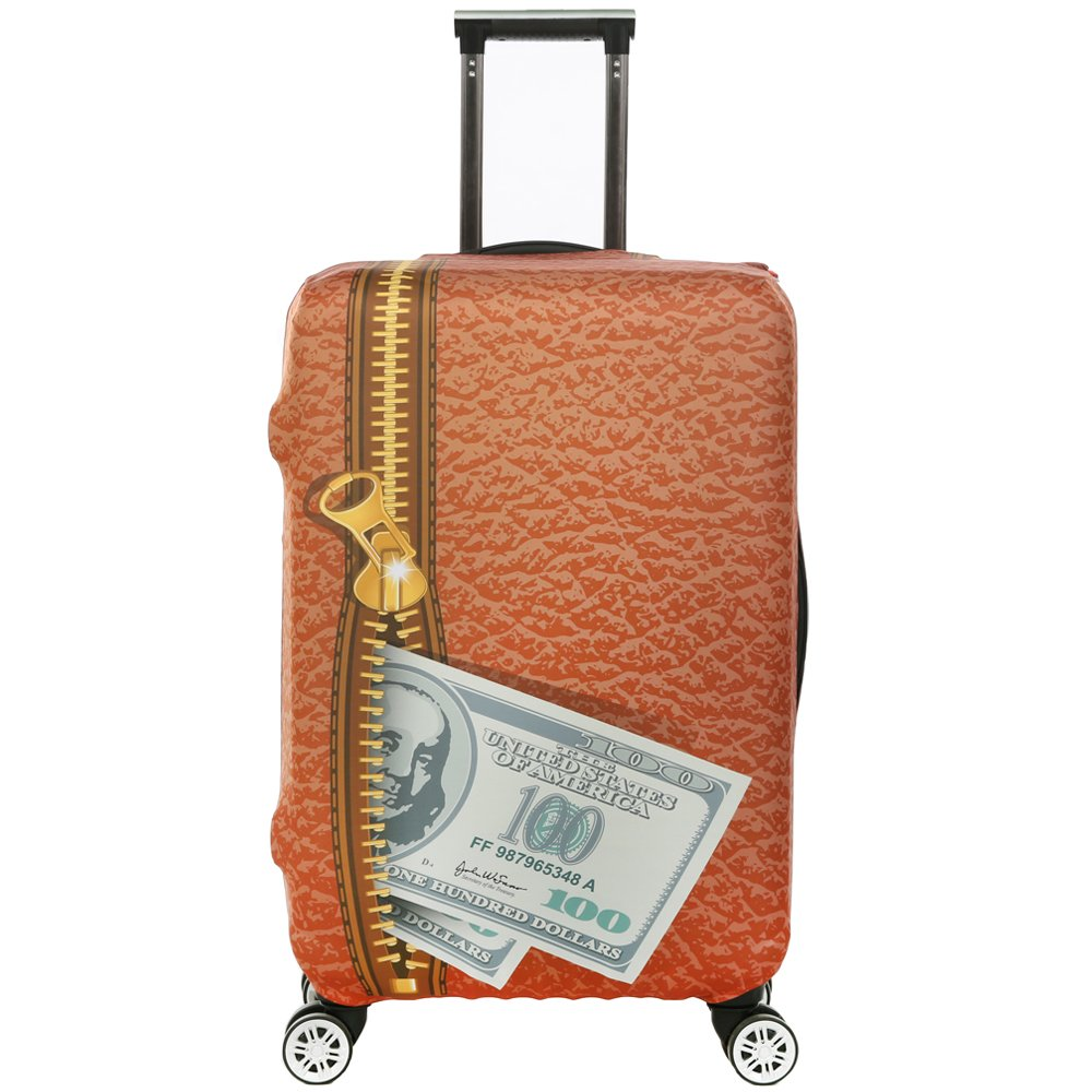 3D Print Dollars Design Travel Trolley Case Cover Protector Suitcase Cover 30''-32'' Trolley Case Luggage Storage Covers Size XL With Luggage Strap Suitcase Belt