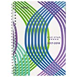 Five Star Student Academic Weekly / Monthly Planner, August 2017 - July 2018, 5-1/2'' x 8-1/2'', Style, Cool Wavy Design (CAW409D1)