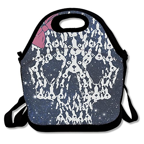 Boston Terrier Sugar Skull Heat Preservation Durable Lunch Bag For Travel Large 11.4