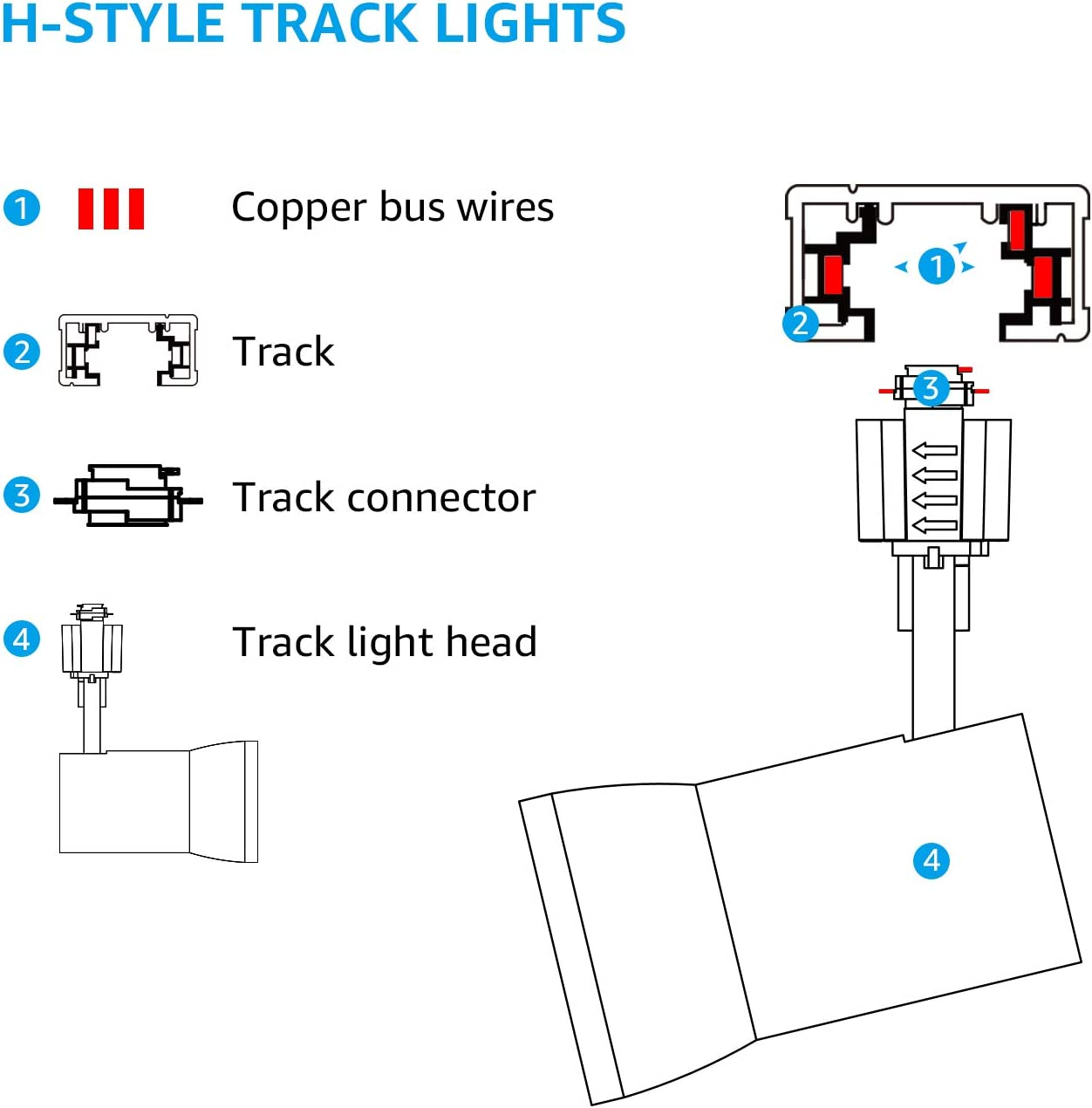 for Wall Exhibition Lighting 4000K Cool White H Type Spotlight 700lm Dimmable CRI90+ 5 Years Warranty Energy Star /& ETL Listed Pack of 2 White LEONLITE 10W Aluminum LED Track Lighting Heads