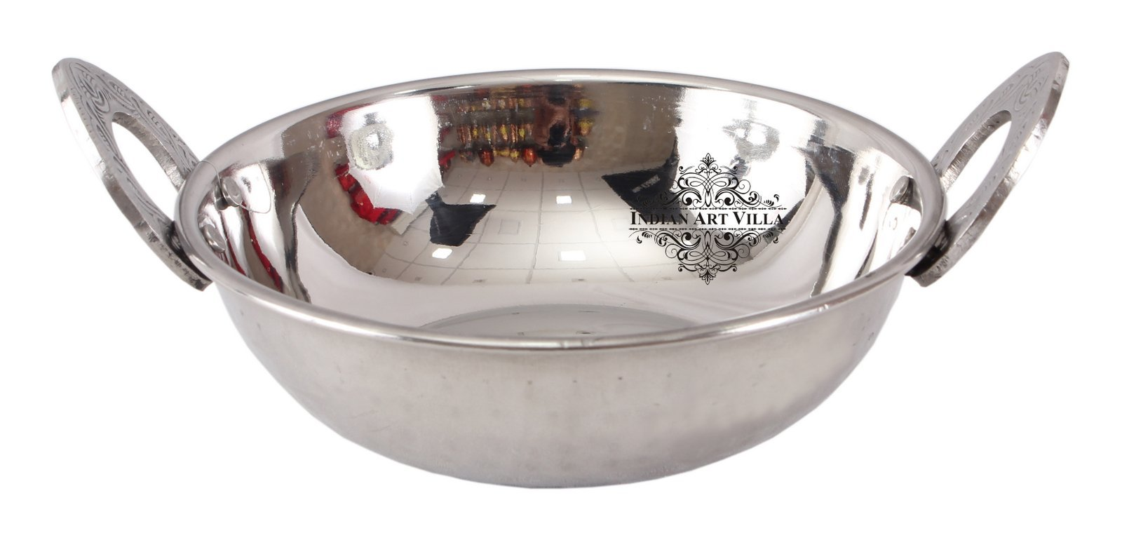 IndianArtVilla S/S Double Wall Kadhai Wok with Designer Handle|540 ML Capacity|Serving Dishes