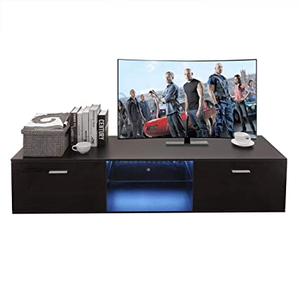 Amazon.com: Holarose Modern LED TV Cabinet   Nordic Style TV Stand With  Contemporary TV Entertainment Center, For Living Room Storage Furniture  (Black 2): ...