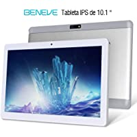 Beneve Tablet PC de 10 Pulgadas,Tab10 Inch 1280 * 800 Resolución,Android 7.0 Nougat,2GB+32GB,Dual sim 4G Panel de 10.1 HD IPS Pulgadas, Procesador MTK QuadCore WiFi PC (Plata)