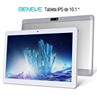Beneve Tablet PC de 10 Pulgadas,Tab10 Inch 1280 * 800 Resolución,Android 7.0 Nougat,2GB+32GB,Dual sim 4G Panel de 10.1 HD IPS Pulgadas, Procesador MTK QuadCore WiFi PC (Plata)