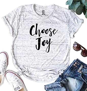 c1f52c389 Amazon.com: JINTING Choose Joy Shirts Christian Graphic Tee Shirts Tops for  Women Teen Girls Graphic Letter Print Tee Shirts with Sayings: Clothing
