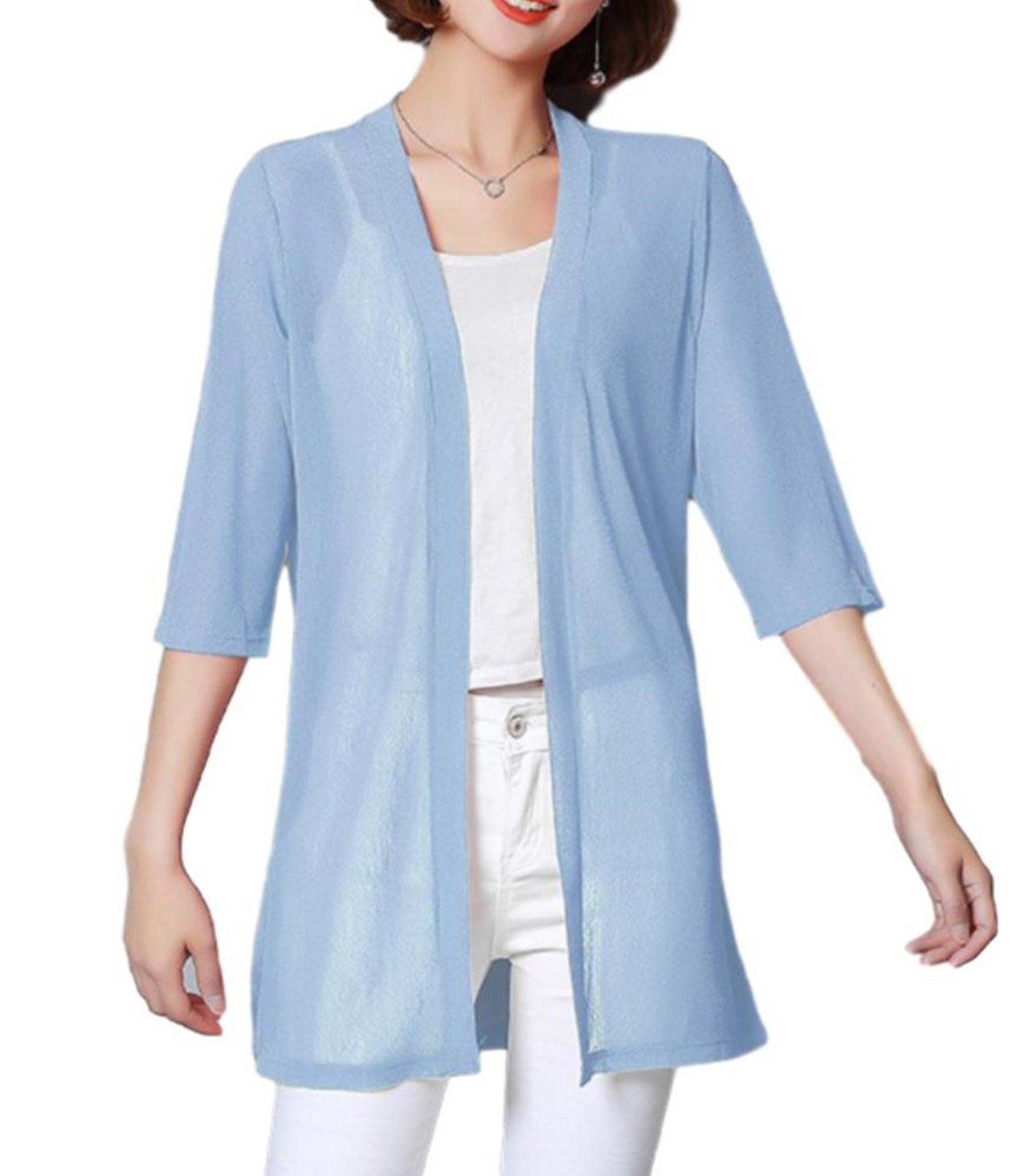ten is heart Cardigan thin long-sleeve cape womens summer office gown elegant (X-Large(Asian sizeXXL), light blue) cardigan gown prom wedding formal bridesmaid evening homecoming long sweater dressing