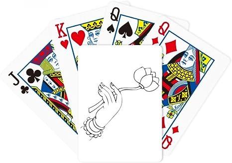 Budismo Lotus mano línea dibujo patrón poker juego de cartas Juego De Mesa Regalo: Amazon.es: Deportes y aire libre