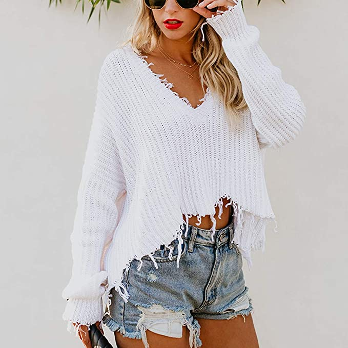 Limsea 2018 Women V-Neck Solid Long Sleeve Knitted Pullover Loose Sweater  Jumper Short Tops at Amazon Women s Clothing store  0183de653