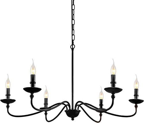 SEOL-LIGHT 36 Dia Classic Candelabra Style Large Branch Iron Chandeliers Ceiling Hanging Pendant Light Fixture 6 Light 240W Black Painted Indoor
