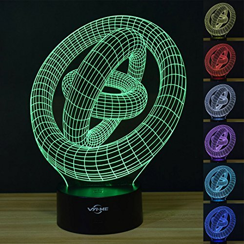 ME 3D Illusion Night Light Abstract Interlocking 7 Colors Change Touch  Switch Table Desk LED Lamp For Home Office Children Room Theme Decoration  Or Kiddie ...