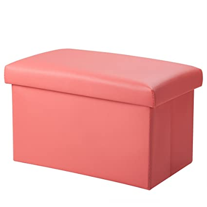 Amazon.com: Foldable Leather Storage Ottoman Bench Footrest Stool ...
