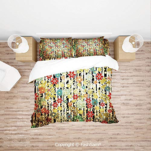 FashSam Duvet Cover 4 Pcs Comforter Cover Set Ivy Line Like Colored Flowers Leafs and Buds with Striped Background Artwork for Boys Grils Kids(Single)
