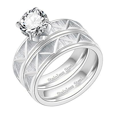Amazon.com: Lavencious - Juego de 2 anillos de compromiso de ...