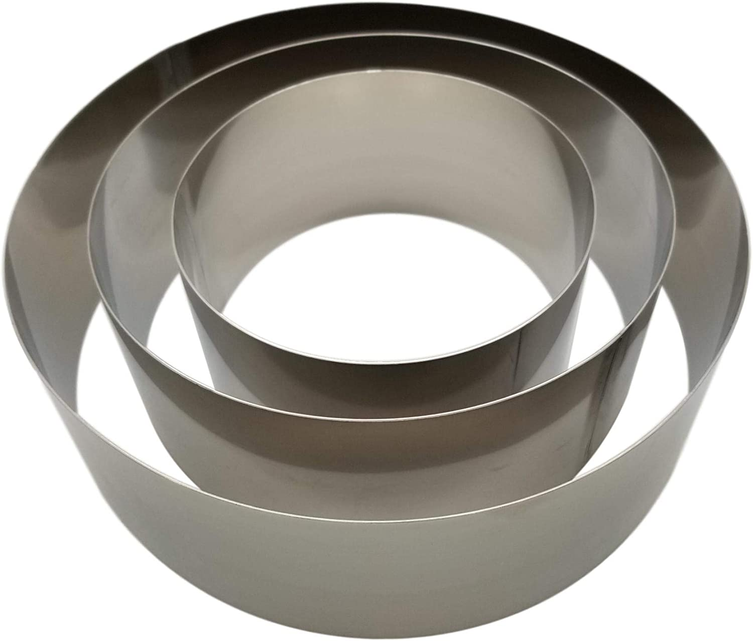 Mousse Diameters: 10 Inch and 6 Inch Wall Height: 3 1//8 Inch Baking Cooking Stainless Steel for Food Forming and Stacking. LiFWare Round Cake Ring Mold Set 8 Inch