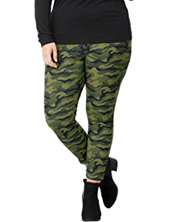 8993a6ccc4922 uxcell Women's Plus Size Elastic Waist Stretch Camouflage Skinny Leggings  Saint Patrick's Day