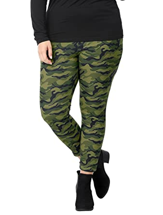 a2cf664dfaa6f uxcell Women's Plus Size Elastic Waist Stretch Camouflage Leggings 1X Green