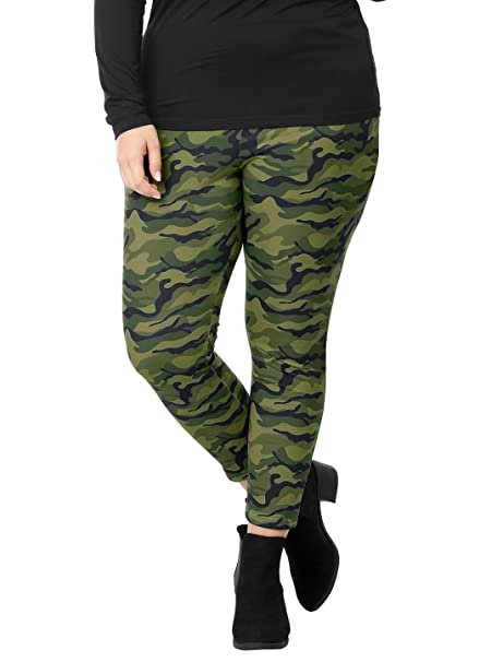 biggest selection retro running shoes uxcell Women's Plus Size Elastic Waist Stretch Camouflage Skinny Leggings  Saint Patrick's Day