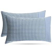 BuGu Pillowcase Cover for Pillow (Blue Plaid, Standard/Queen(20