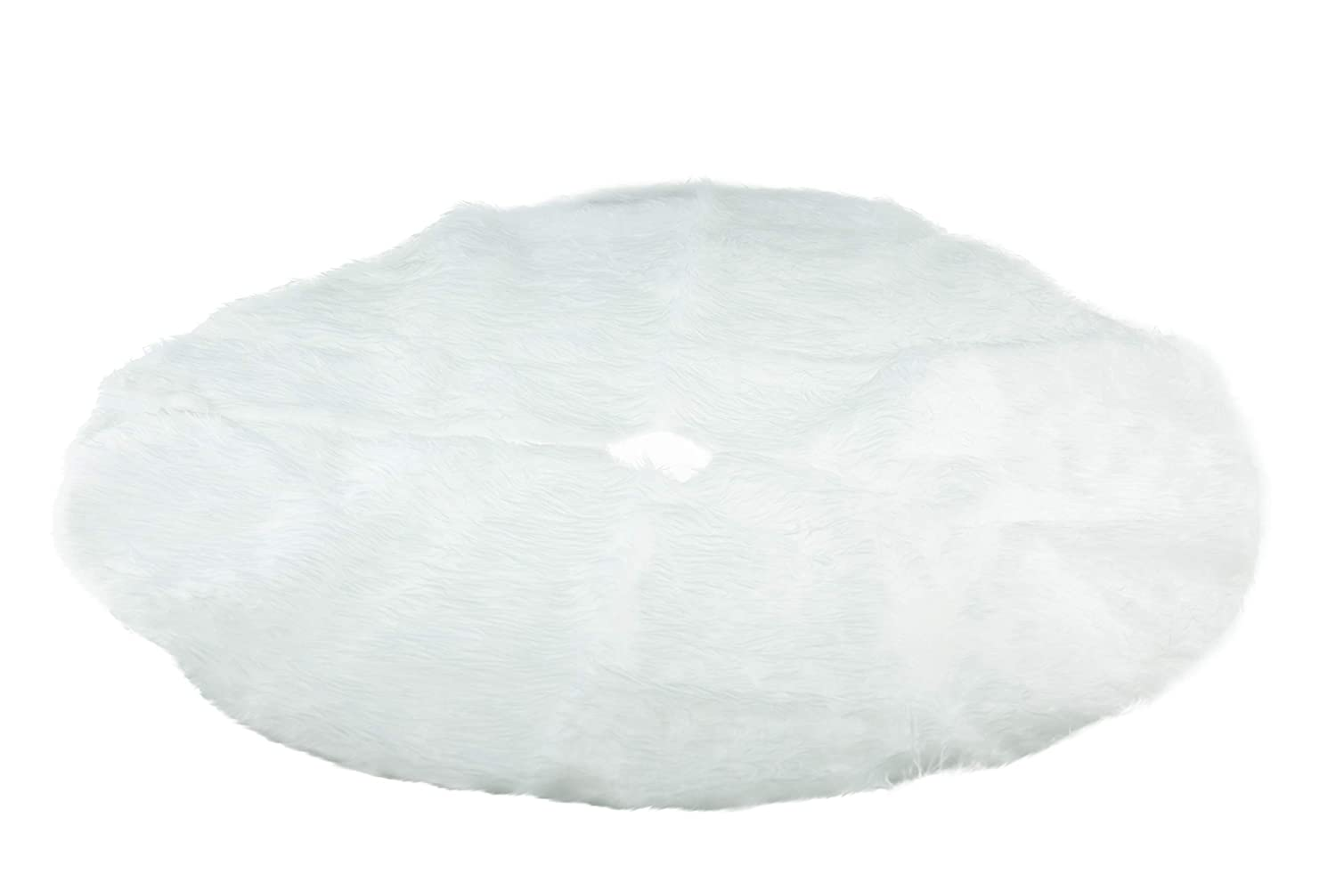Clever Creations White Faux Fur Tree Skirt Pure Snow White Color | Festive Holiday Design | Tie Closure | Helps Contain Needle & Sap Mess on Floors | 30