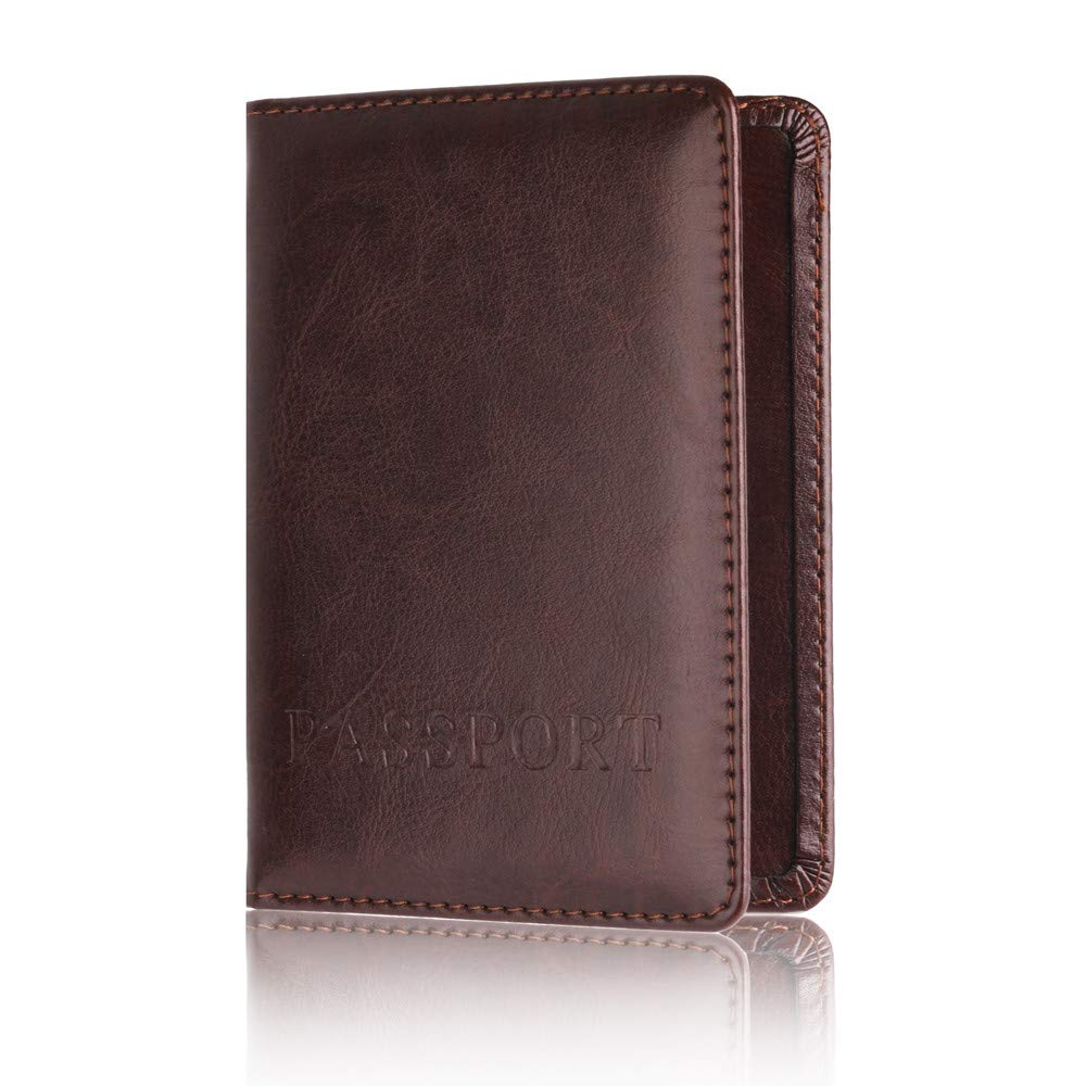 ❤️ Sunbona Card Holder Wallet Leather Passport Holder Protector Wallet Business Card Soft Passport Cover With ID Window (Coffee) by Sunbona (TM) (Image #3)