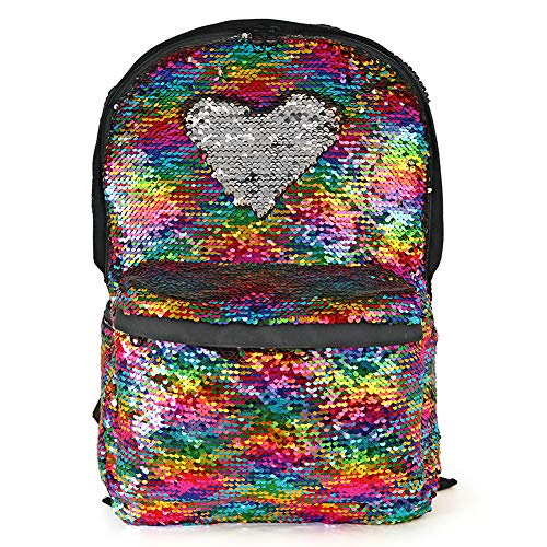 Justice Backpacks For Kids (Magic Reversible Sequin Backpack,Sparkly Lightweight Back Pack for Girls and)