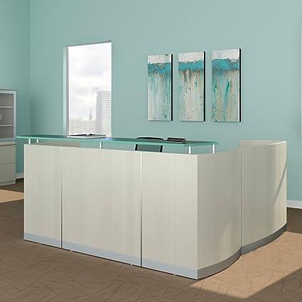 quality design 3bfb1 50089 Amazon.com : Modern L-Shaped Reception Desk, White ...