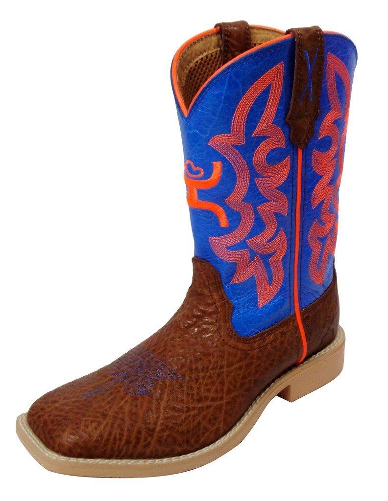YHY0001 Twisted X Kid's Hooey Western Boots - Cognac/Neon Blue - 5.0M
