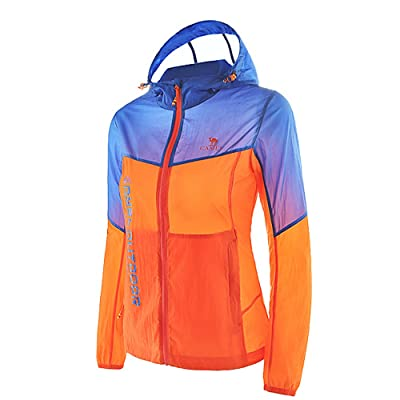 Camel Women's Super Lightweight Jacket Windbreaker Waterproof Quick Dry Skin Coat Color Orange/Blue Size M