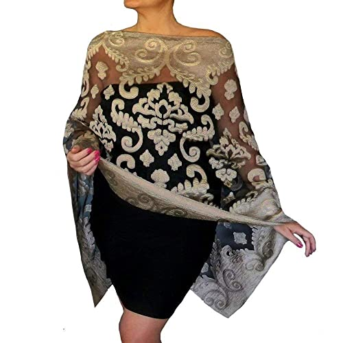2403a7a8e45 Amazon.com  Plus Size Dark Gold Shawl Sheer Black Organza Evening Wrap  Wedding Stole By ZiiCi  Handmade