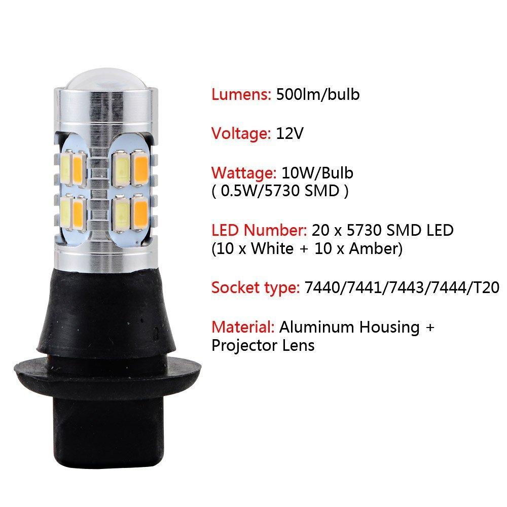 2x Amber White Dual Color Switchback Smd Led 7440 T20 12v 10w Single Filament Socket Car Turn Signal Parking Light Bulb Load Resistor Kit