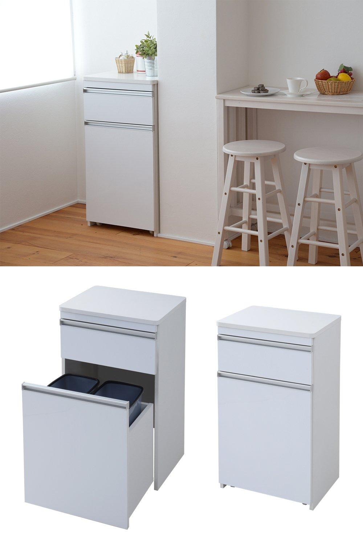 JKプラン 光沢のある 鏡面 仕上げ ミニ キッチンカウンター ゴミ箱収納 付き 幅 50 カウンター 引き出し 付き キャスター付き 高さ 90 収納 棚 ラック ホワイト TSFPL00005WH B07BNDLLWP ホワイト ホワイト
