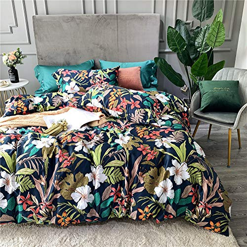 mixinni Botanical Floral Duvet Cover Set Queen Vibrant Flower Tree Leaves Garden Pattern Printed 100% Cotton Bedding Set with Zipper Closure for Women and Men, Ultra Soft, Breathable,Easy Care from mixinni