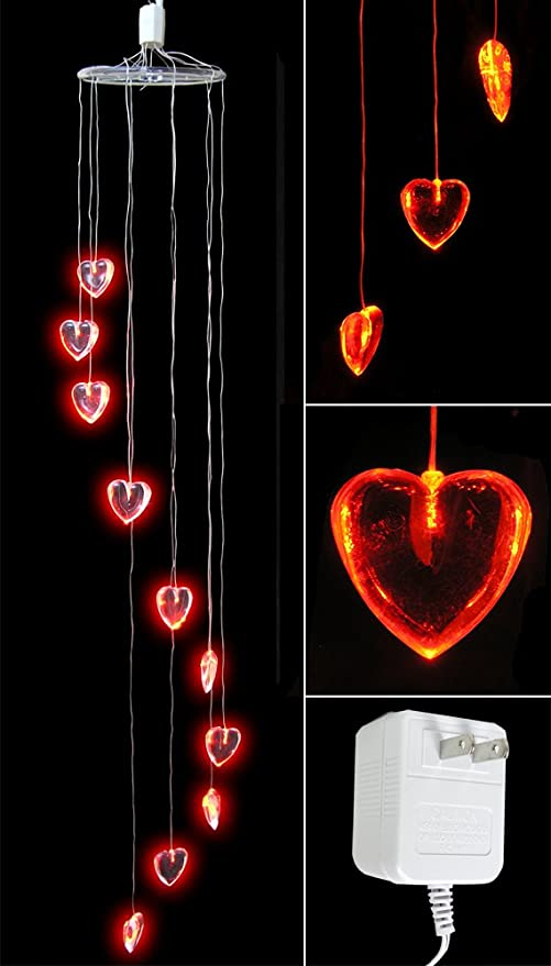 Amazon Com Heart Decorations Red Heart Shaped Lights Led