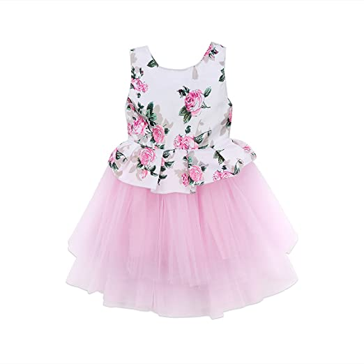 Amazoncom Baby Girls Lace Tutu Dress Wedding Princess Gown Party