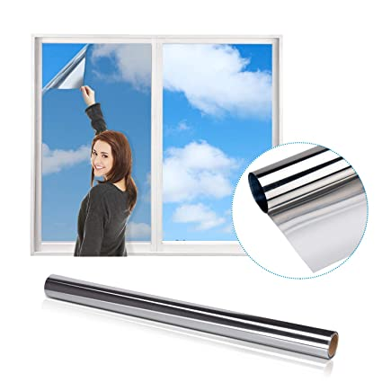 Fencos Reflective Window Film, iTrunk One Way Mirror Window Film Anti UV,  Static Cling Window Film Heat Control Film Daytime Privacy Glass Tint for