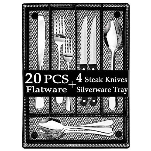 LIANYU 20-Piece Silverware Set with Utensil Drawer Organizer, Plus 4 Steak Knives, Stainless Steel Flatware Cutlery Set, Modern Eating Utensils Tableware Service for 4, Dishwasher Safe