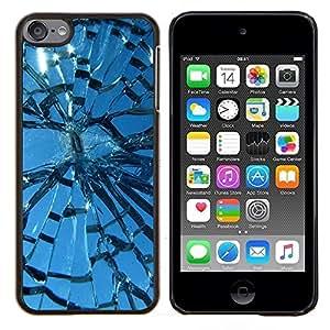 TECHCASE---Cubierta de la caja de protección para la piel dura ** Apple iPod Touch 6 6th Touch6 ** --Broken Glass Window Sun Blue Sky