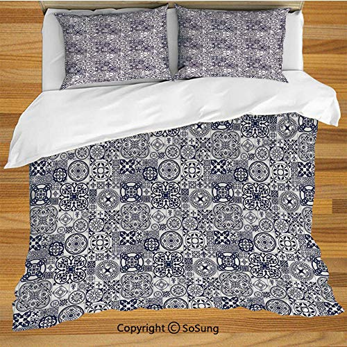 Moroccan Queen Size Bedding Duvet Cover Set,Ceramic Art Pattern Middle Ages Inspirations Portuguese Ornamental Squares Decorative Decorative 3 Piece Bedding Set with 2 Pillow Shams,Navy Blue White