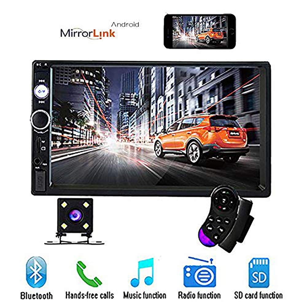 CAMECHO 7'' Double Din Car Stereo Audio Bluetooth MP5 Player USB FM Multimedia Radio+ 4 LED Mini Backup Camera with Steering Wheel Remote Support Mobile Phone Synchronization (Only Used in Android) by CAMECHO