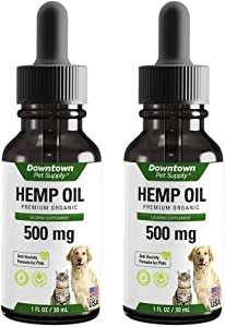Downtown Pet Supply 500 or 1000 MG of Hemp Oil for Dogs and Cats - Hemp Oil for Stress, Anxiety, Calming Support & Relief - Natural Omega 3 and Supports Hip & Joint Health